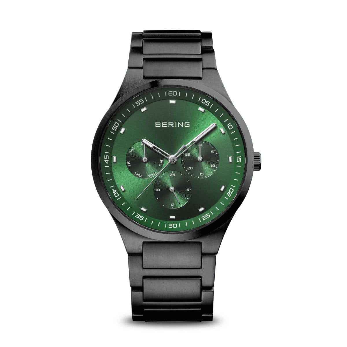 BERING Classic 40mm Green Dial Black Stainless Steel Mens Watch 11740-728