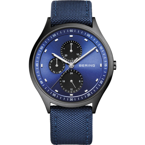 BERING 11741-827 Men's Watch Brushed Black Titanium Blue Sunray Dial Nylon Strap