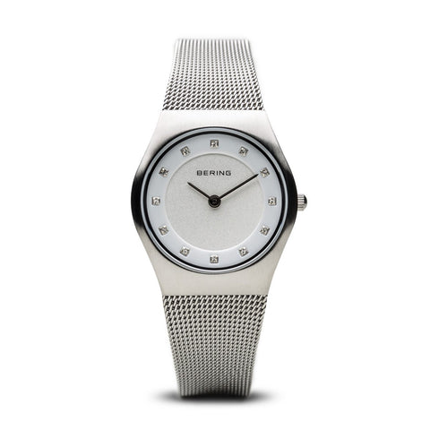 BERING Classic 27mm Brushed Silver Swarovski Dial Markers Mesh Band Women's Watch 11927-000