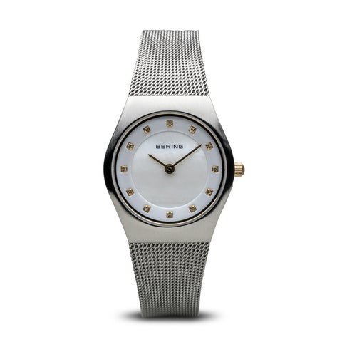BERING Classic 27mm Brushed Silver Swarovski Dial Markers Women's Watch 11927-004