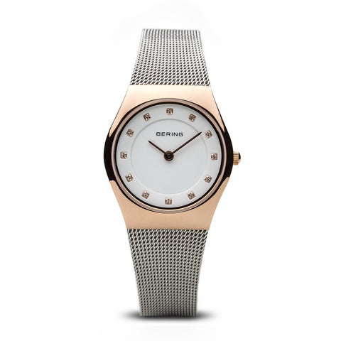 BERING Classic Polished Rose Gold Swarovski Dial Markers Mesh Band Women's Watch 11927-064