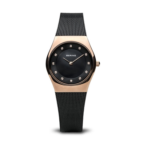 BERING Classic 27mm Polished Rose Gold Case Black Mesh Band Women's Watch 11927-166