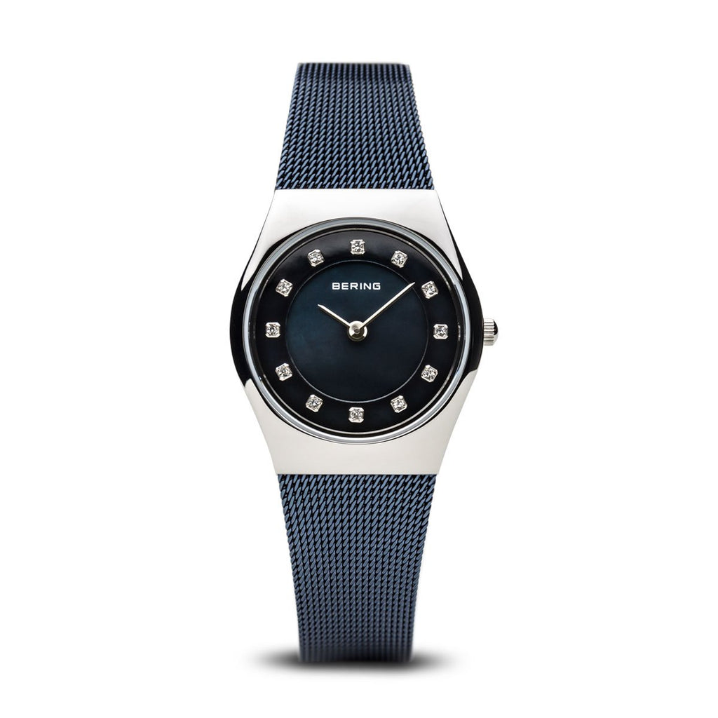 BERING Classic 27mm Polished Silver Case Blue Mesh Band Women's Watch 11927-307