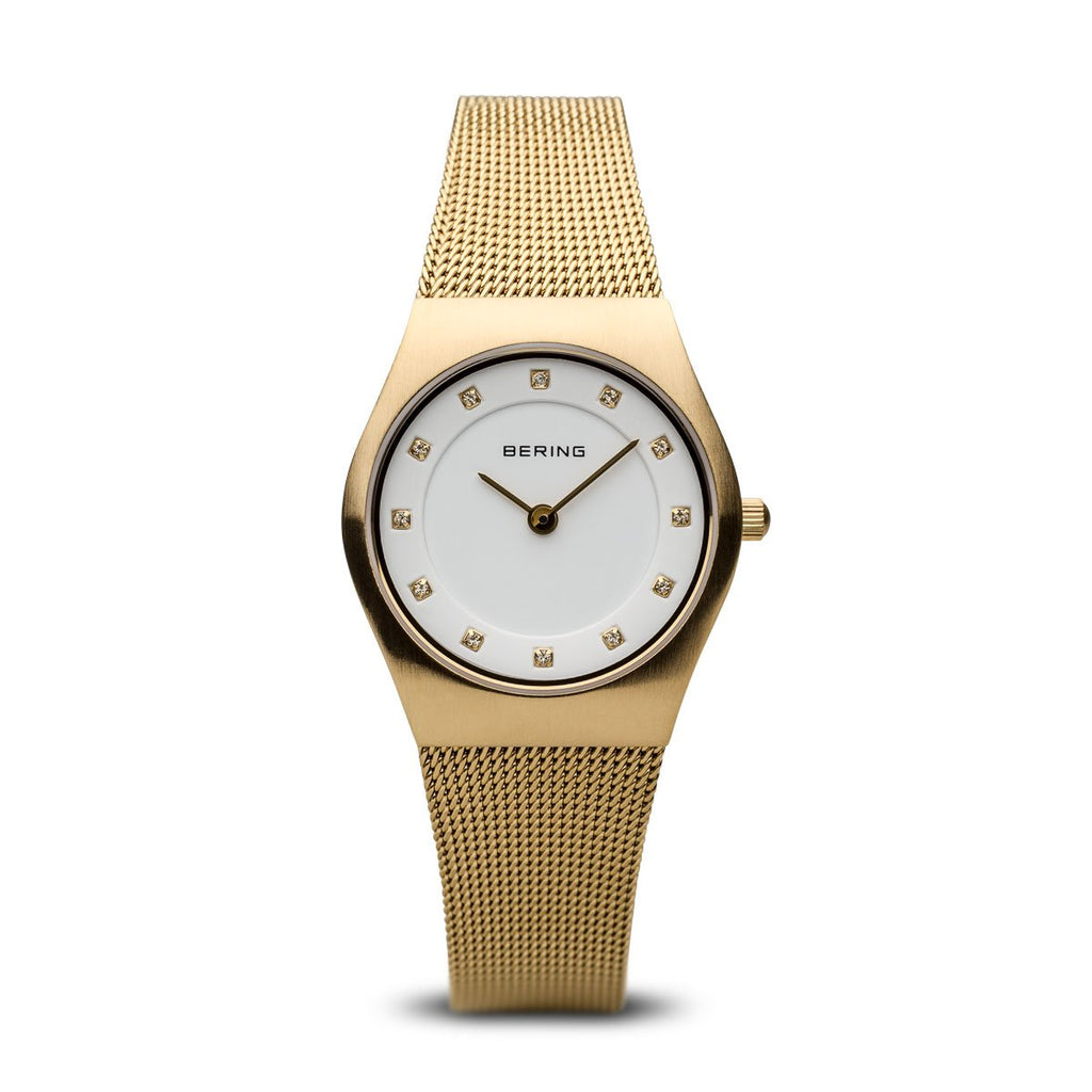 BERING Classic 27mm Brushed Gold Case Gold Mesh Band Women's Watch 11927-334
