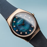 BERING 11927-367 Women's Watch Swarovski Crystals Slim Case Blue Milanese Strap