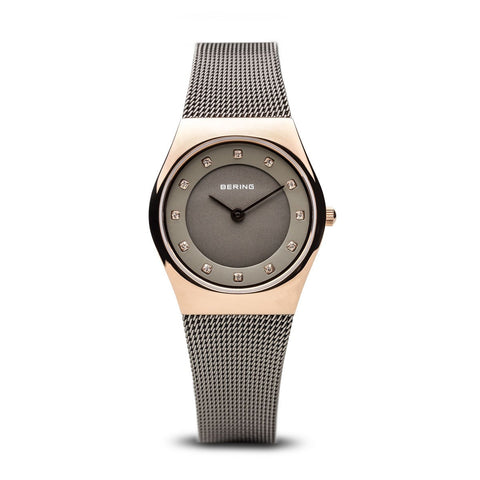 BERING Classic 27mm Polished Rose Gold Case Grey Mesh Band Women's Watch 11927-369