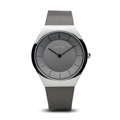 BERING Classic 36mm Polished Silver Case Grey Mesh Band Women's Watch 11936-309