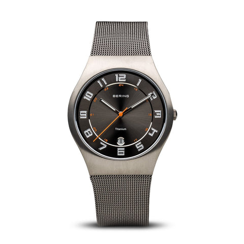 BERING Titanium 37mm Brushed Grey Mesh Strap Men's Watch 11937-007