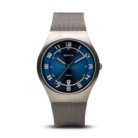 BERING Titanium 37mm Brushed Grey Case Blue Dial Men's Watch 11937-078