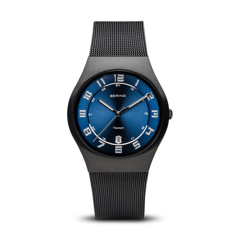 BERING Titanium 37mm Brushed Black Case Mesh Strap Men's Watch 11937-227