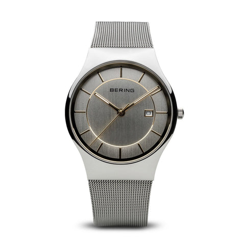 BERING Classic 40mm Polished Silver Milanese Strap Men's Watch 11938-001