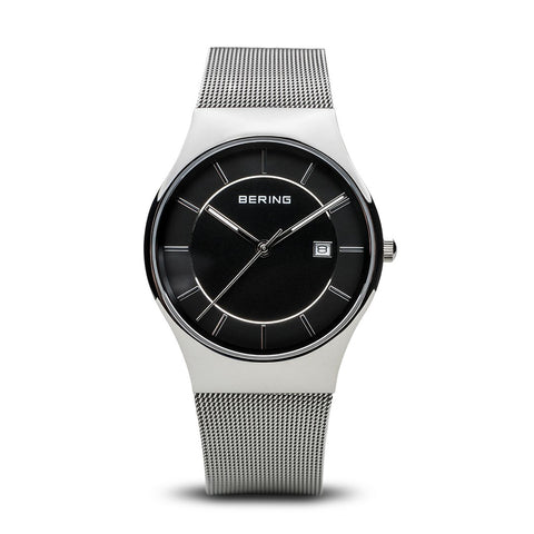 BERING Classic 40mm Stainless Steel Black Milanese Strap Men's Watch 11938-002