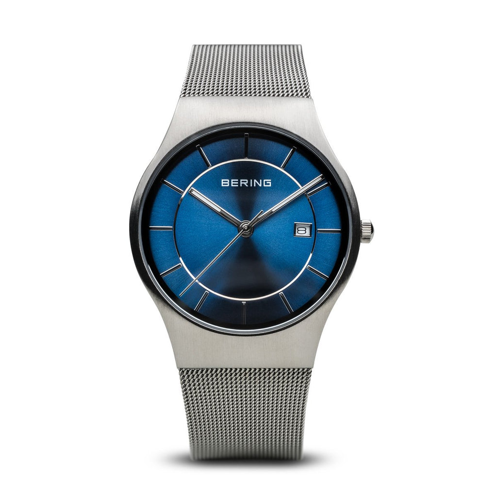 BERING Classic Blue Dial Brushed Silver Mesh Band Men's Watch 11938-003