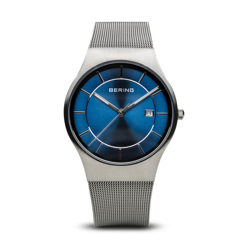 BERING 11938-003 Men's Watch Classic Blue Dial Stainless Steel Case & Mesh Band
