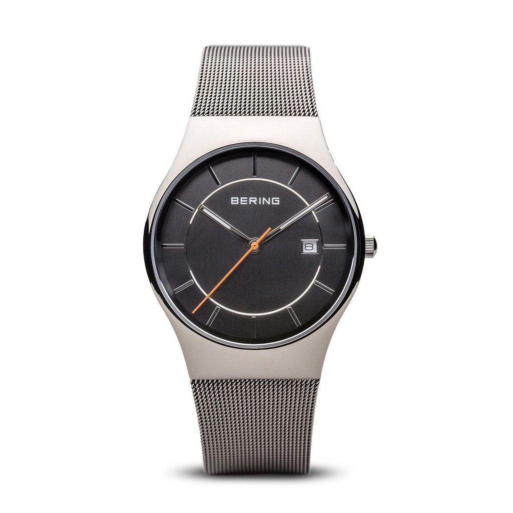 BERING 11938-007 Men's Watch Classic Grey Stainless Steel Case & Mesh Band