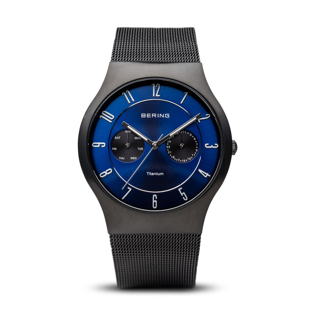 BERING Titanium 39mm Brushed Black Case Blue Dial Men's Watch 11939-078