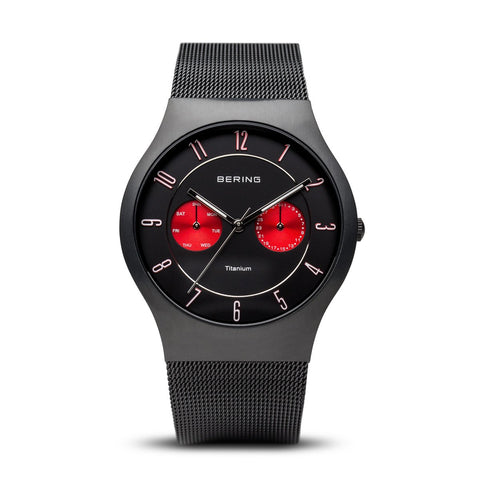 BERING 11939-229 Men's Watch Brushed Black Titanium Case Red Subdial Black Dial