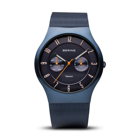 BERING 11939-393 Men's Watch Brushed Blue Titanium Case Day/Date Subdials