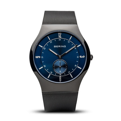BERING 11940-227 Mens Classic Blue Dial Black Mesh Watch Sapphire Crystal