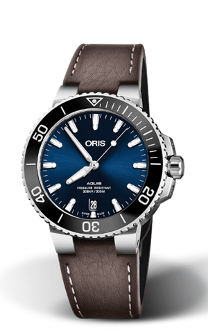Oris Aquis Date 39.5mm Brown Leather Strap Blue Dial Men's Watch 01 733 7732 4135-07 5 21 10FC