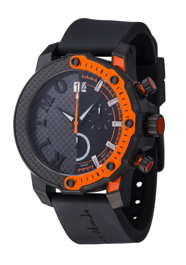 Ritmo Mundo Quantum 3 Orange 50mm Half Carbon Fiber Dial Sports Chrono Men's Watch 1201/3 Orange