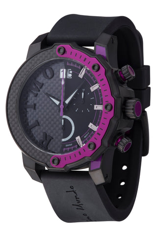 Ritmo Mundo Quantum 3 Purple 50mm Half Carbon Fiber Dial Sports Chrono Men's Watch 1201/5 Purple