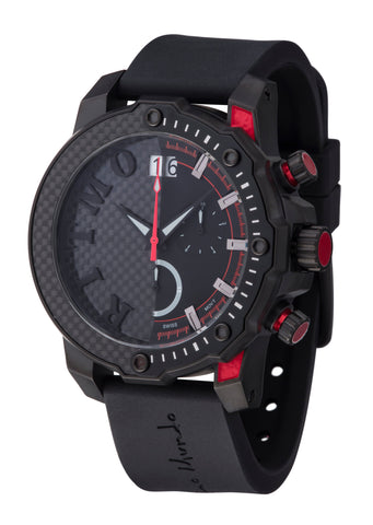 Ritmo Mundo Quantum 3 Red 50mm Half Carbon Fiber Dial Sports Chrono Men's Watch 1201/4 Red