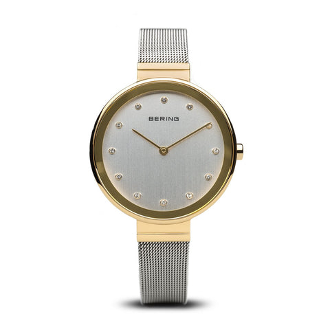 BERING Classic 34mm Polished Gold Case Crystal Markers Women's Watch 12034-010
