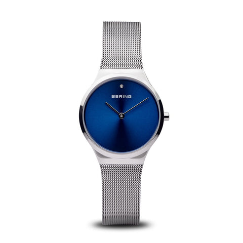 BERING Classic 31mm Polished Silver Milanese Strap Women's Watch 12131-007