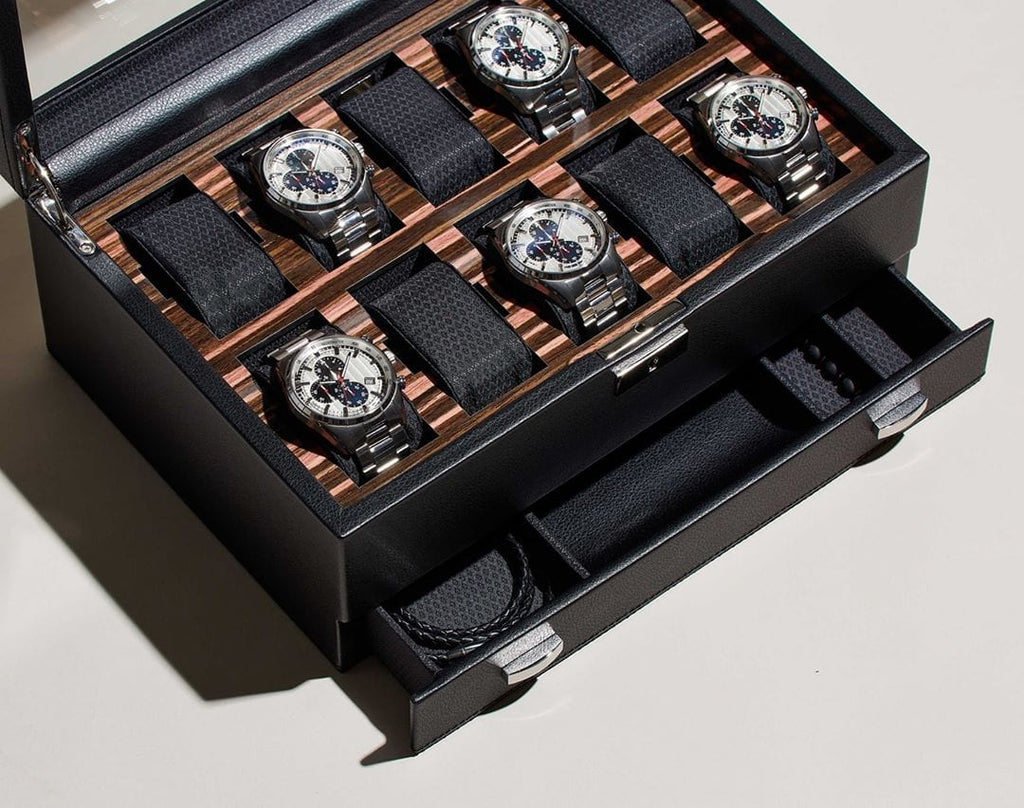 WOLF Roadster 10 Piece Watch Box With Drawer 477656