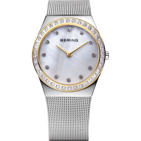 BERING 12430-010 Women's Watch SWAROVSKI Crystal Bezel MOP Dial Mesh Band