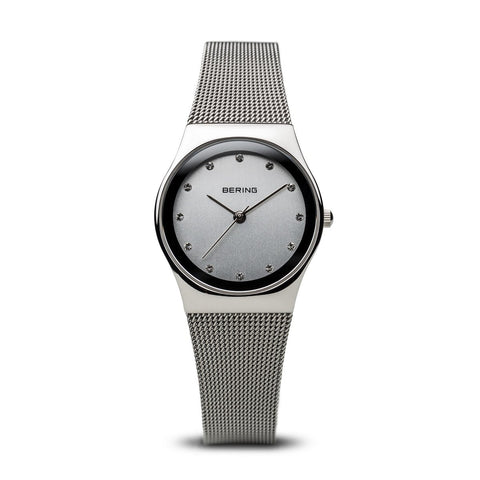 BERING Classic 27mm Polished Silver Milanese Strap Women's Watch 12927-000