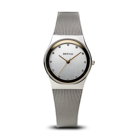 BERING Classic 27mm Polished Silver Milanese Strap Women's Watch 12927-010