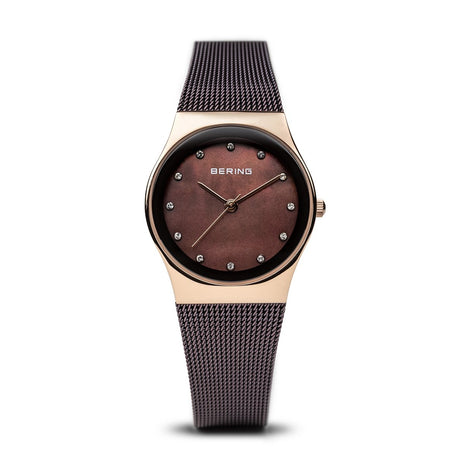 BERING Classic Polished Rose Gold Brown Mesh Strap Women's Watch 12927-262