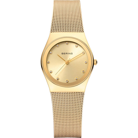 BERING Classic 27mm Polished Gold Case Gold Mesh Band Women's Watch 12927-333