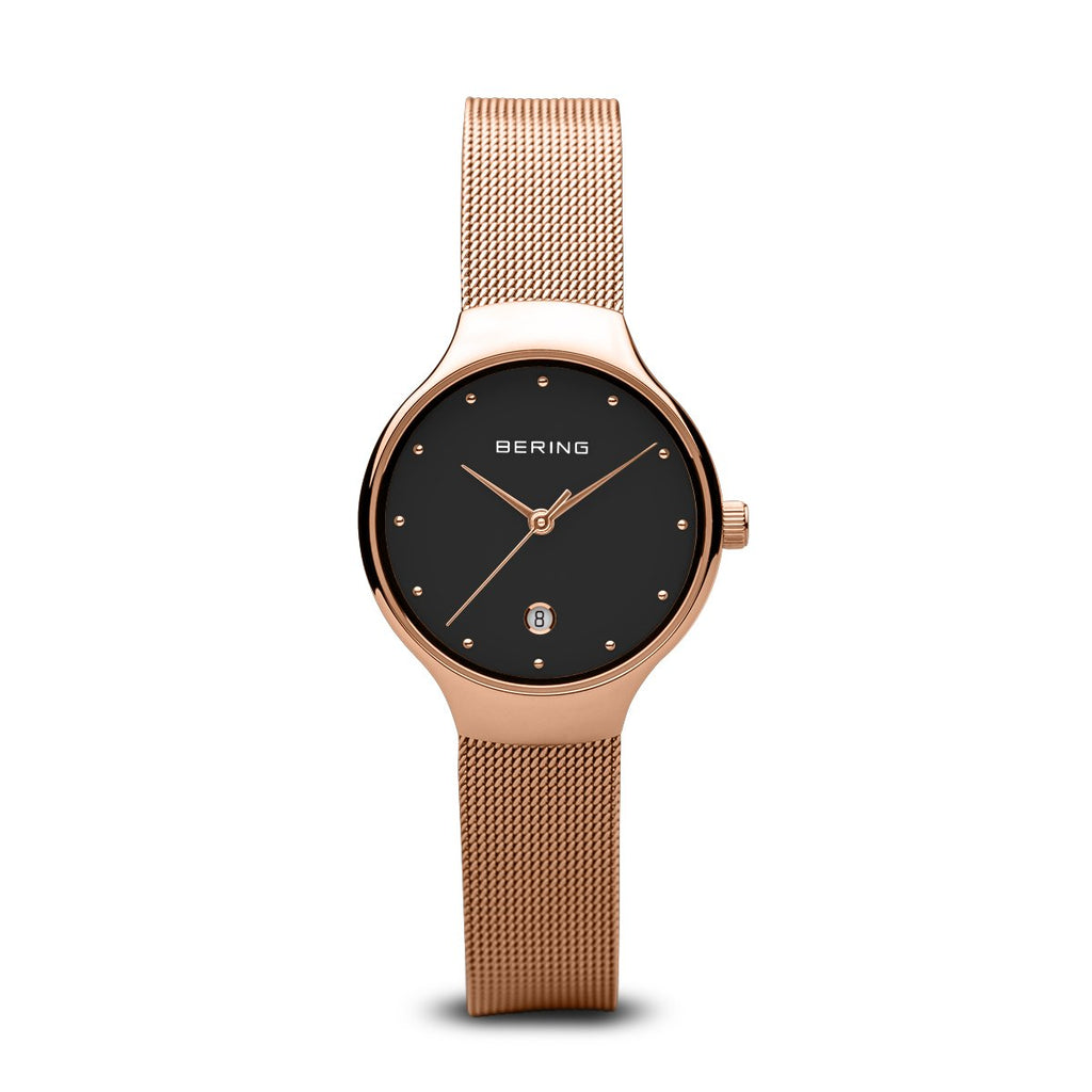 BERING Classic 26mm Polished Rose Gold Milanese Strap Women's Watch 13326-362