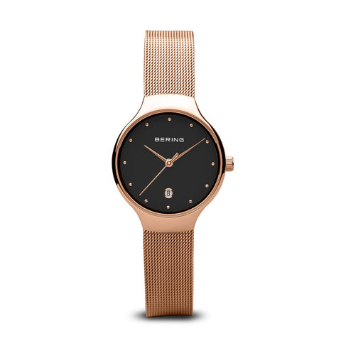 BERING Classic 26mm Rosé Gold Glänzend Milanese Strap Rose Gold women's Watch 13326-362