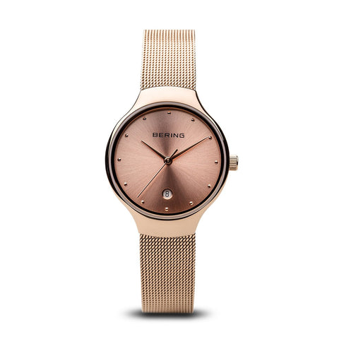 BERING Classic 26mm Rose Gold Mesh Band Women's Watch 13326-366