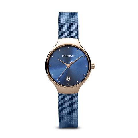 BERING Classic 26mm Polished Rose Gold Milanese Strap Blue women's Watch 13326-368
