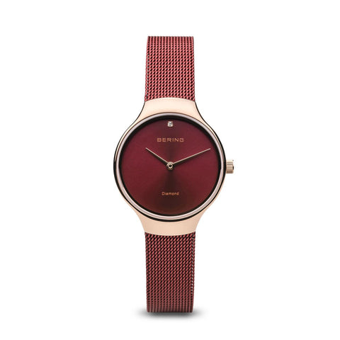 BERING Charity 26mm Polished Rose Gold Milanese Strap Red Women's Watch 13326-Charity