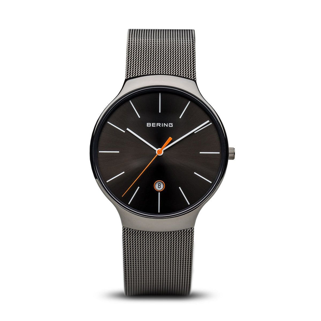 BERING Classic Polished Grey Case Grey Mesh Band Men's Watch 13338-077
