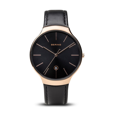 BERING 13338-462 Men's Watch Integrated Black Leather Strap Polished Rose Gold Case