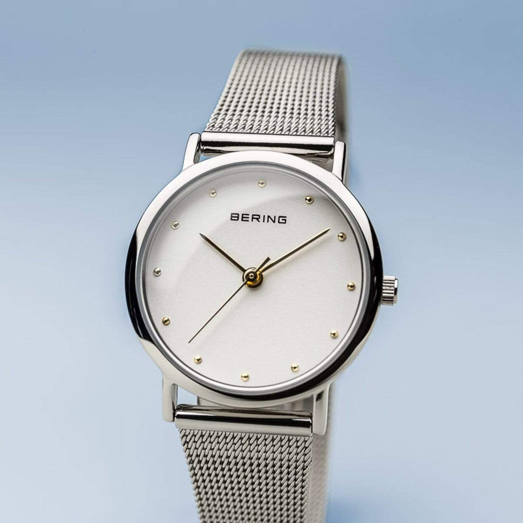 BERING Classic 26mm Polished Silver Mesh Strap Women's Watch 13426-001