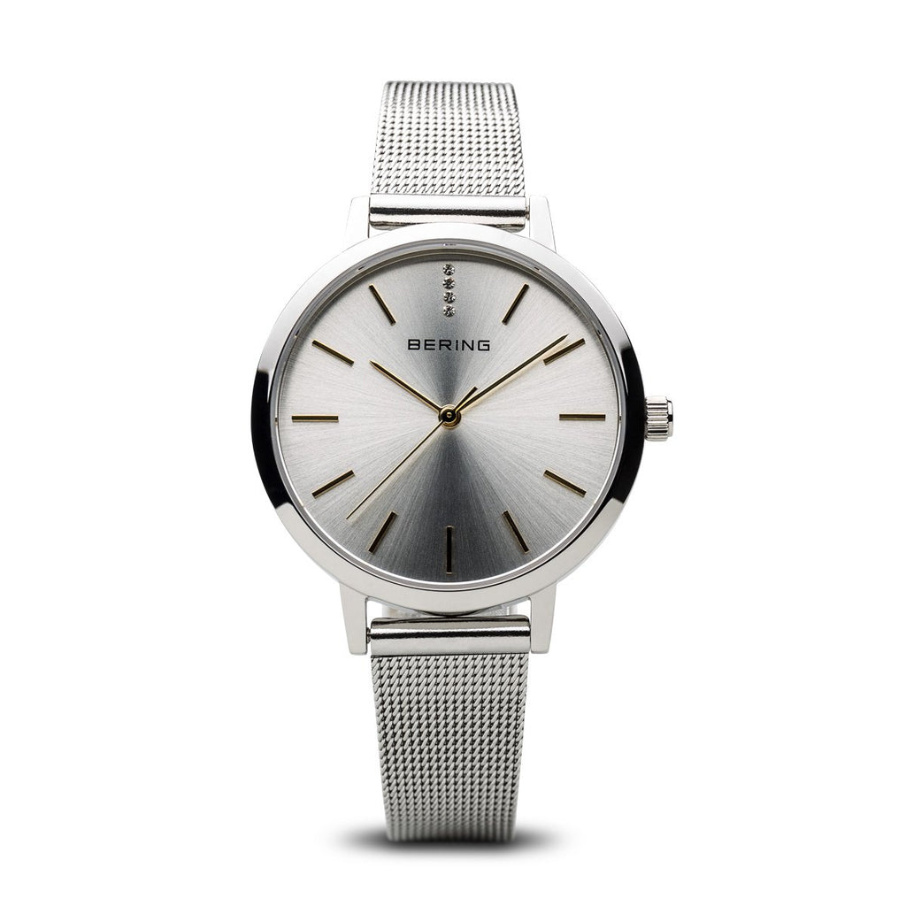 BERING Classic Elegant Polished Silver Mesh Strap Women's Watch 13434-001