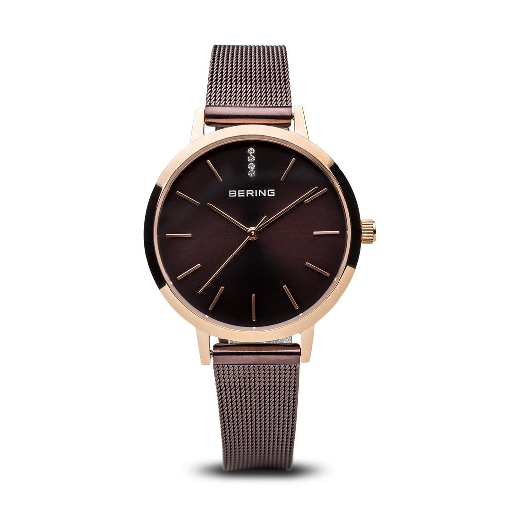BERING Classic Elegant Polished Brown Mesh Strap Women's Watch 13434-265