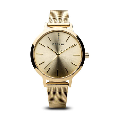 BERING Classic Elegant Polished Gold Mesh Strap Women's Watch 13434-333