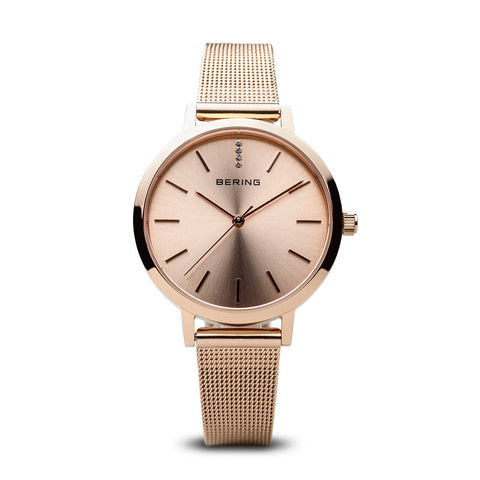 BERING 13434-366 Women's Rose Gold Classic Watch Rose Gold Milanese Strap