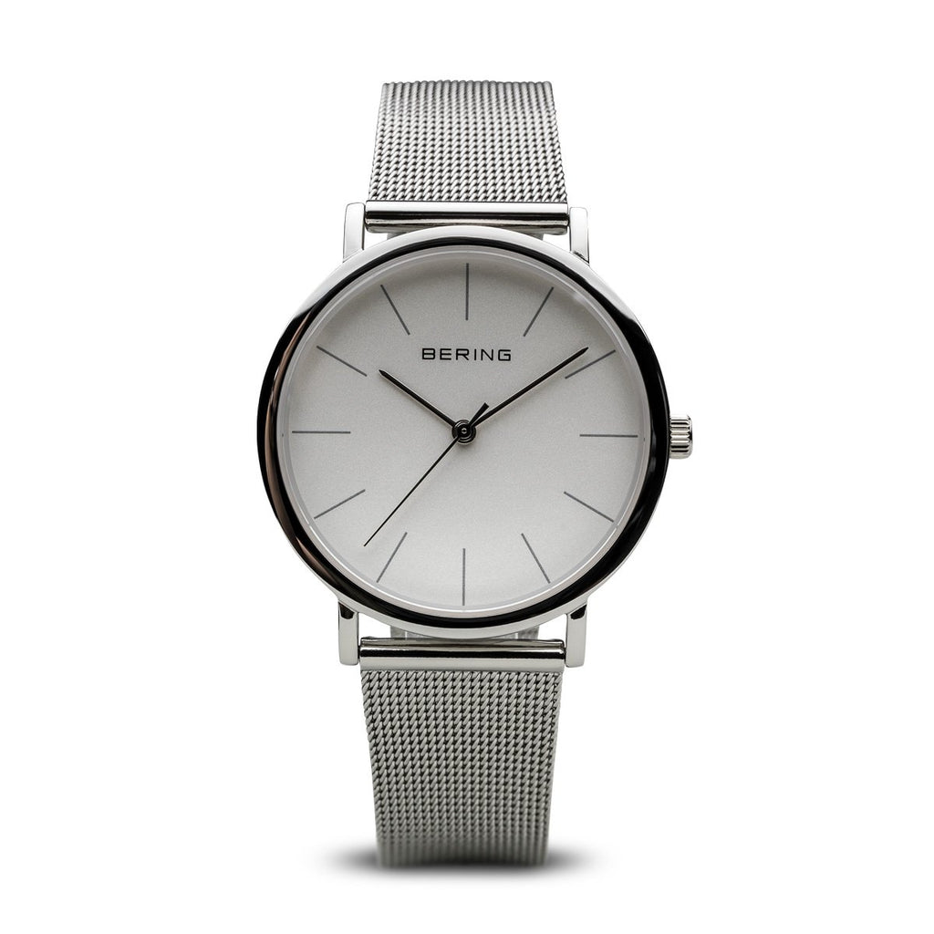 BERING Classic Polished Silver Case Silver Mesh Strap Unisex Watch 13436-000