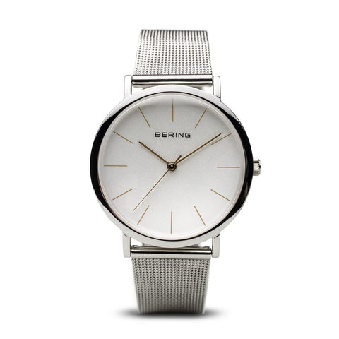 BERING Classic Polished Silver Case Silver Mesh Strap Unisex Watch 13436-001