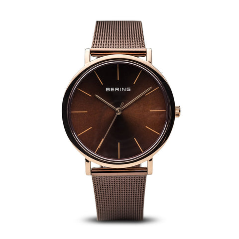 BERING Classic Polished Rose Gold Brown Mesh Strap Unisex Watch 13436-265